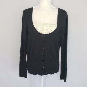 August Silk black knit sweater silk blend Large